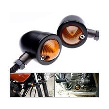 2x Bullet Motorcycle Black Turn Signal Light Indicator Harley Chopper bobber XL