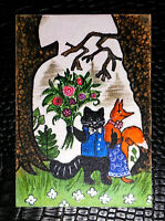 """Original art by Bastet """"Fox and Cat with Flowers"""" OOAK hand painted ACEO"""