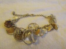 Silver Tone & Light Coloured Shell & Plastic Bead Chain Bracelet