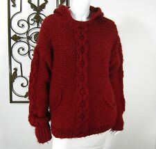 Classiques Entier Long Sleeve Hooded Sweater Size L Large Red Pockets Over size
