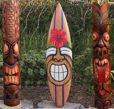 "Tribal Tiki Mask Package Deal Hibiscus, Sun Wood Patio Tropical Bar 40"""