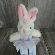 "Russ Ophella Cream Bunny Ballerina 8"" Plush Pink Tutu Blue Toe Shoes Pink Flower"