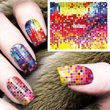 Nail Art Water Decals Stickers Transfers Pink Disco Colour Squares Gel Polish