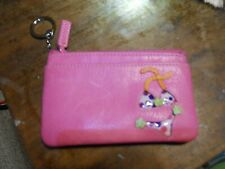 FOSSIL HOT Pink Leather Zip Coin Purse Card Holder Wallet W/SWIMSUIT MOTIF