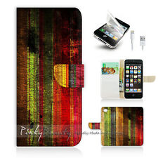 ( For iPhone 5 / 5S / SE ) Wallet Case Cover! Cool Metro Colourful Texture P0268