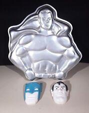 vintage 1977 wilton Superman Batman dc comics superhero action figure cake pan