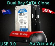 "USB 3.0 to DUAL Bay SATA Hard Drive Dock 3.5"" 2.5"" HDD Docking Clone+Backup 16T"