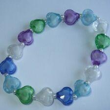 Nuevo Cristal Hearts & Pulsera De Perlas, Azul Morado Verde & Clear Colores, rb32