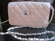 NEW ST JOHN KNIT WOMENS LT PINK GELATO QUILTED LEATHER LOGO CHAIN SHOULDER BAG