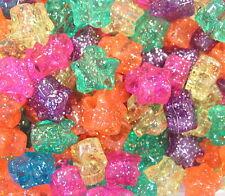 "50 Star Jelly Sparkle Glitter Pony Beads 1/2"" 13mm Kids Girls USA Made ABCraft"
