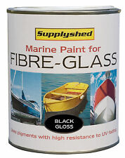 SUPPLYSHED Marine Boat Gloss BLACK Paint for Fibreglass and GRP 750ml