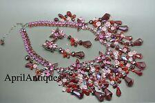 Vintage Cristobal London red swarovski crystal star tassel drops bib necklace