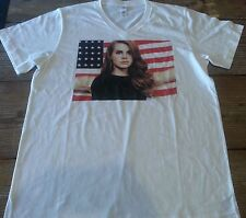 Lana Del Rey V Neck U.S Flag T shirt Large White