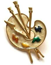 Artist Palette Gold Pin Brooch Graduation Gift Enamel Colors Paint Brush USA