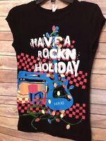 Christmas - Juniors Sz M Med - Have a Rockn Holiday - Ugly Shirt - Guitar Tee
