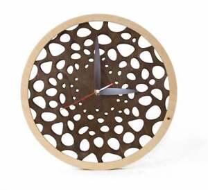Wooden Wall Clock Modern Handmade ABSOLUTELY SILENT Unique Anniversary/wedding