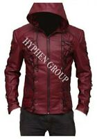 New Men's Red Hooded Eyelets Real Sheep Skin Leather Jacket Brando Style