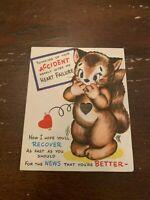 Vintage 1950's Get Well Soon Greeting Card Kitten