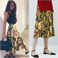 SALE Green Yellow Floral Pleated Folds Midi Skirt Size UK 6 US 2 Blogger❤