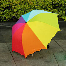 Free shipping Fashion Womens Colours Folding Umbrella Anti UV sun/rain Parasol