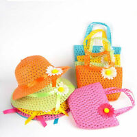Lovely Summer Sun Hat Girls Kids Straw Cap Beach Flower Hats + Handbag Totes