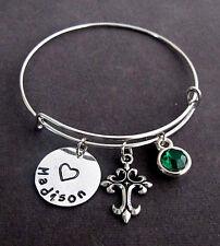 Personalized Cross Bangle Bracelet, Confirmation Gift,Communion Gift Jewelry