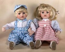 """Collector's Porcelain Doll Twins Boy & Girl 10"""" Sitting Blond Hair Blue Eyes"""