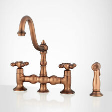 Roeblin Bridge Kitchen Faucet with Side Spray in Antique Copper