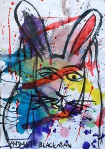 Auguste BLACKMAN Shock Bunny - Original Signed, Abstract Expressionist Rabbit