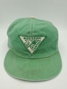 Mississippi Lime Co. Patch K-Brand Distressed Green Snapback Hat Cap USA Made