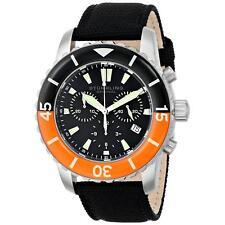 Stuhrling Felucca II Men's 44mm Chronograph Black Calfskin Quartz Watch 3267.01