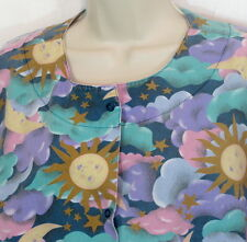 Scrub Coat Size Large Sun Moon Clouds Stars Snaps Cherokee Made in USA
