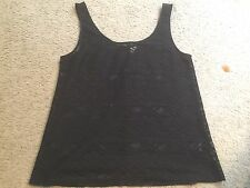 DIVIDED by H&M H & M Black Sheer Lace Casual Shirt Tank Top Blouse womens Medium