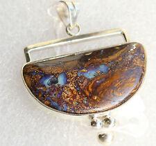 Doppelseitiger Boulder Opal 30 Karat 950er Silberanhänger Unikat