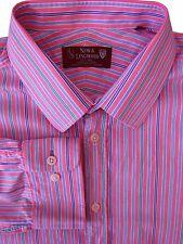 NEW & LINGWOOD Shirt Mens 17.5 XL Pink - Multi-Coloured Stripes