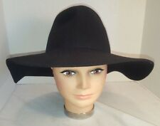 NEW BROOKLYN HAT COMPANY BLACK 100% WOOL FELT BLACK WIDE BRIM FLOPPY HAT