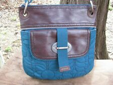 FOSSIL KEY-PER Teal/Brown Floral Quilt Stitch Crossbody Bag