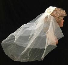 Wedding Veil Vintage Lace Cap Hair Piece Head Gossamer Mesh Net Gathered