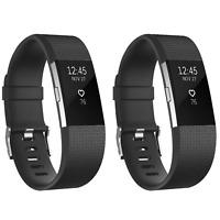 2x Ersatz Armband Schwarz für Fitbit Charge 2 Fitness Sport Tracker