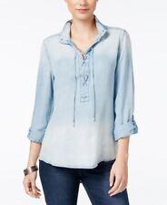 Vintage America Lace Up Denim Shirt Big Sur Wash Blue  L