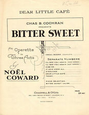 DEAR LITTLE CAFE Music Sheet-1929-NOEL COWARD-BITTER SWEET-AUTOGRAPH GRIMALDI