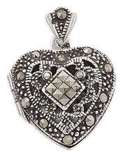 Echtschmuck im Medaillon-Stil aus Sterlingsilber mit Herz-Halsketten & Anhänger