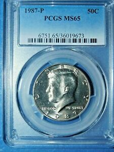 1987-P 50C Kennedy Half Dollar-PCGS MS65--445-1