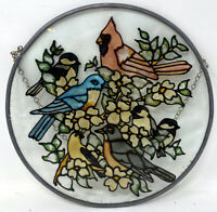 Vintage Stained Glass Red Cardinal Birds Window Panel 8""