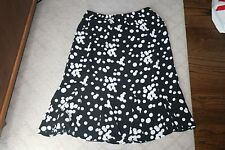 Women's Tanjay Black White Polka Dot Skirt Size 12100% Polyester
