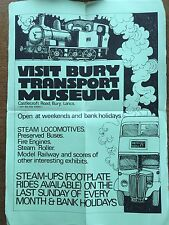 BURY TRANSPORT MUSEUM Vintage Poster Railway Steam Locomotive Buses Fire Engine