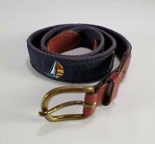 Leather Man Ltd Canvas Belt Sailboat Boat Ribbon Brass Buckle 34 Blue