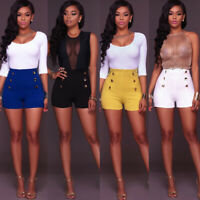 Sexy Women Fashion Female High Waist Shorts Casual Slim Fit Buttons Short Pants#