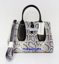 Longchamp ROSEAU Python Embossed Lambskin Leather MD Tote Black/white Dust Bag