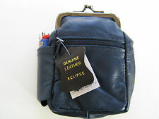 Blue Genuine Leather Snap Cigarette Case. 2 Zipper Pockets 1 Lighter Pouch 100s